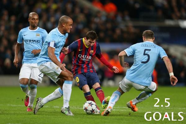 UCL : Get 1/2 on Man. City vs. Barcelona - Over 2.5 Goals